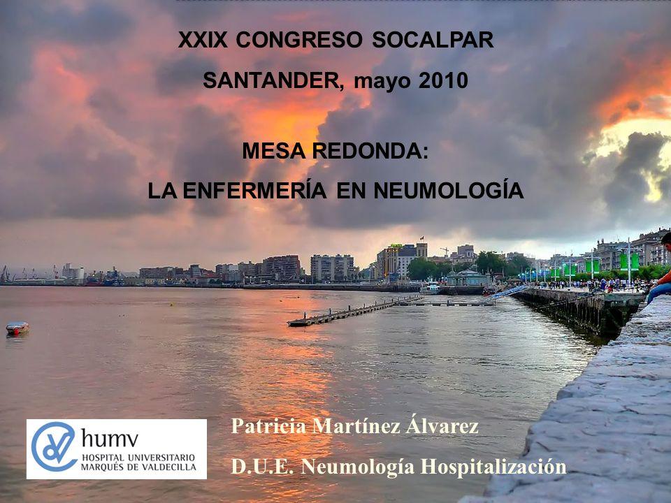 XXIX CONGRESO SOCALPAR SANTANDER, mayo 2010 MESA REDONDA: LA ENFERMERÍA EN NEUMOLOGÍA Patricia Martínez Álvarez D.U.E. Neumología Hospitalización