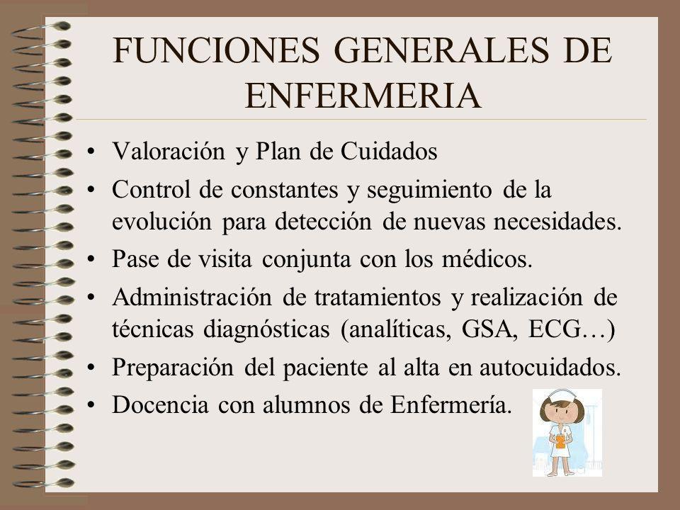 FUNCIONES GENERALES DE ENFERMERIA Valoración y Plan de Cuidados Control de constantes y seguimiento de la evolución para detección de nuevas necesidad