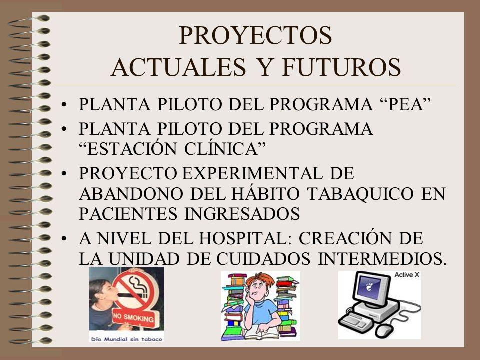 PROYECTOS ACTUALES Y FUTUROS PLANTA PILOTO DEL PROGRAMA PEA PLANTA PILOTO DEL PROGRAMA ESTACIÓN CLÍNICA PROYECTO EXPERIMENTAL DE ABANDONO DEL HÁBITO T