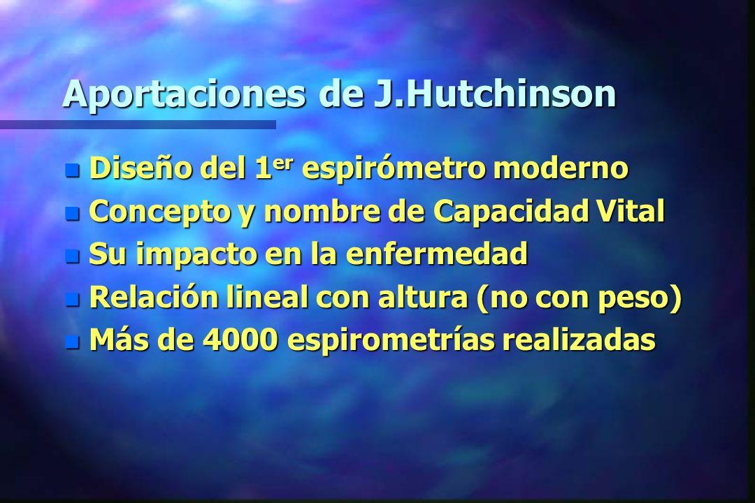 Aportaciones de J.Hutchinson n Diseño del 1 er espirómetro moderno n Concepto y nombre de Capacidad Vital n Su impacto en la enfermedad n Relación lin