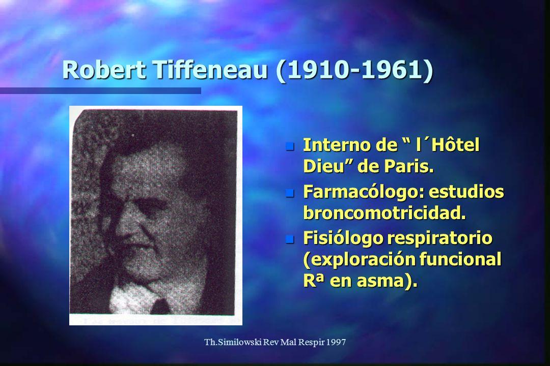 Th.Similowski Rev Mal Respir 1997 Robert Tiffeneau (1910-1961) n Interno de l´Hôtel Dieu de Paris. n Farmacólogo: estudios broncomotricidad. n Fisiólo