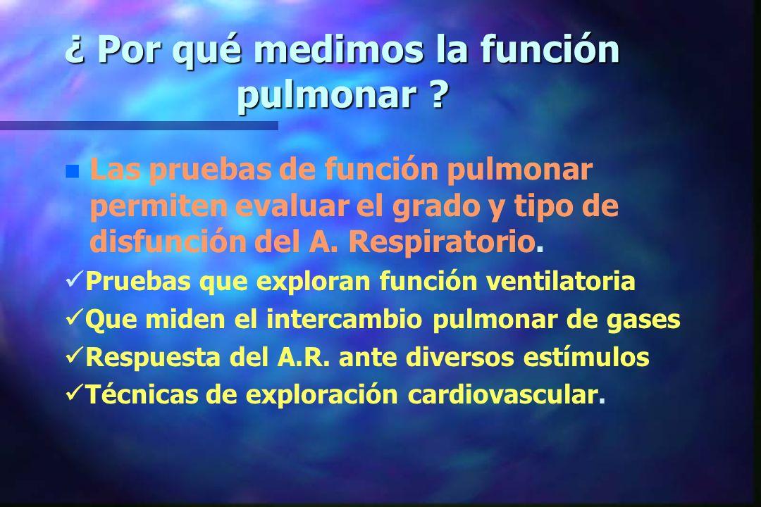 ¿ Por qué medimos la función pulmonar ? n n Las pruebas de función pulmonar permiten evaluar el grado y tipo de disfunción del A. Respiratorio. Prueba