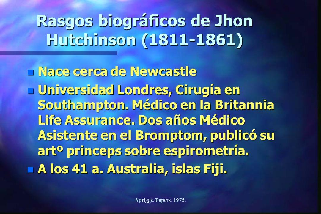 Spriggs. Papers. 1976. Rasgos biográficos de Jhon Hutchinson (1811-1861) n Nace cerca de Newcastle n Universidad Londres, Cirugía en Southampton. Médi
