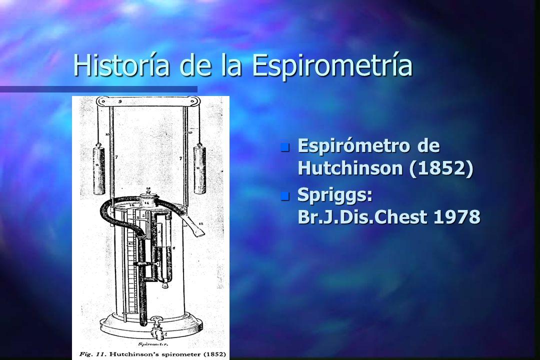 Historía de la Espirometría n Espirómetro de Hutchinson (1852) n Spriggs: Br.J.Dis.Chest 1978