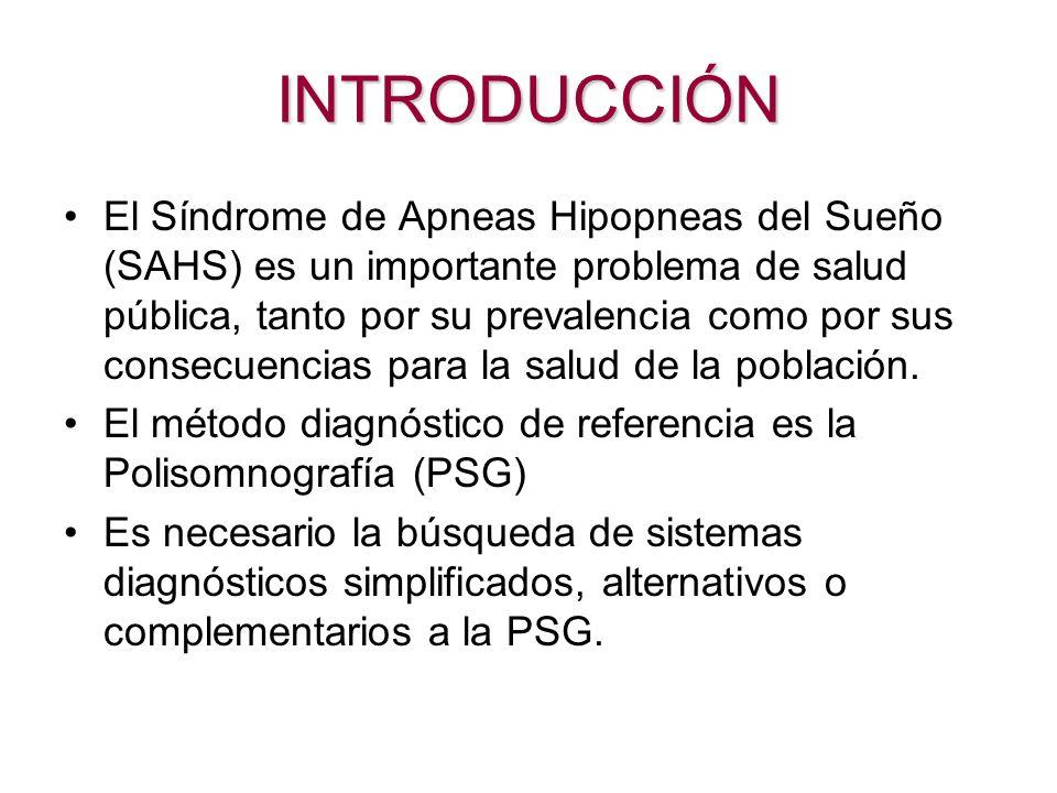 INTRODUCCIÓN El Síndrome de Apneas Hipopneas del Sueño (SAHS) es un importante problema de salud pública, tanto por su prevalencia como por sus consec