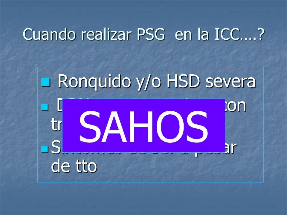 Cuando realizar PSG en la ICC….? Ronquido y/o HSD severa Ronquido y/o HSD severa DPN, que no mejora con tratamiento DPN, que no mejora con tratamiento
