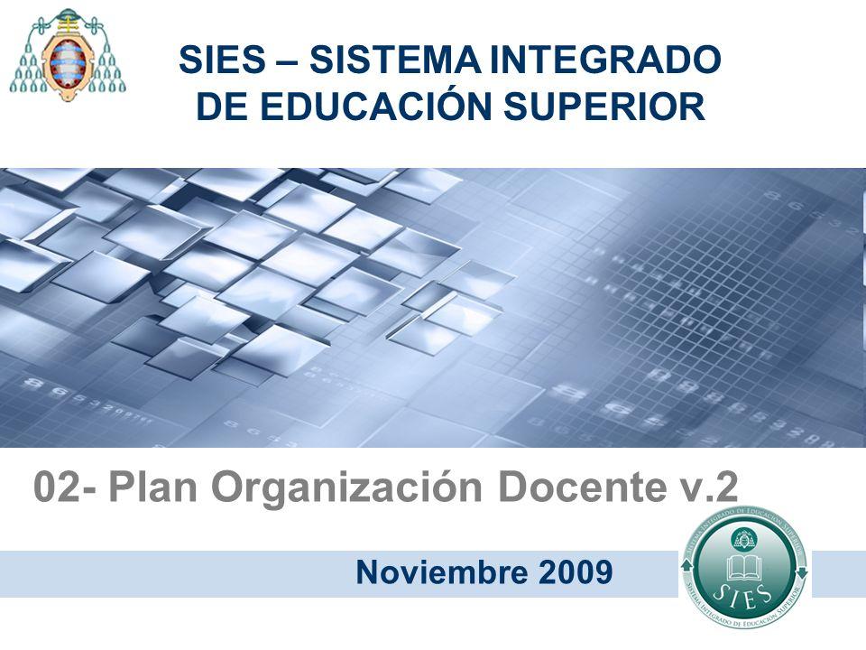 02- Plan Organización Docente v.2 Noviembre 2009 SIES – SISTEMA INTEGRADO DE EDUCACIÓN SUPERIOR