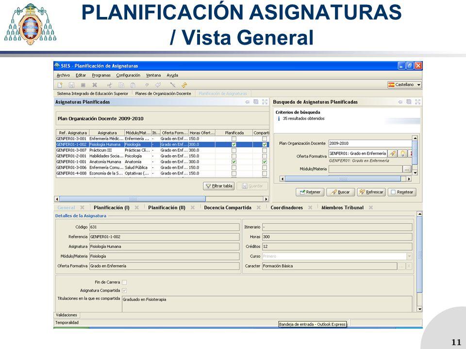 PLANIFICACIÓN ASIGNATURAS / Vista General 11
