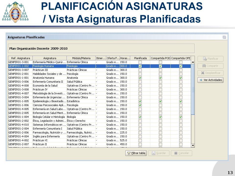 PLANIFICACIÓN ASIGNATURAS / Vista Asignaturas Planificadas 13