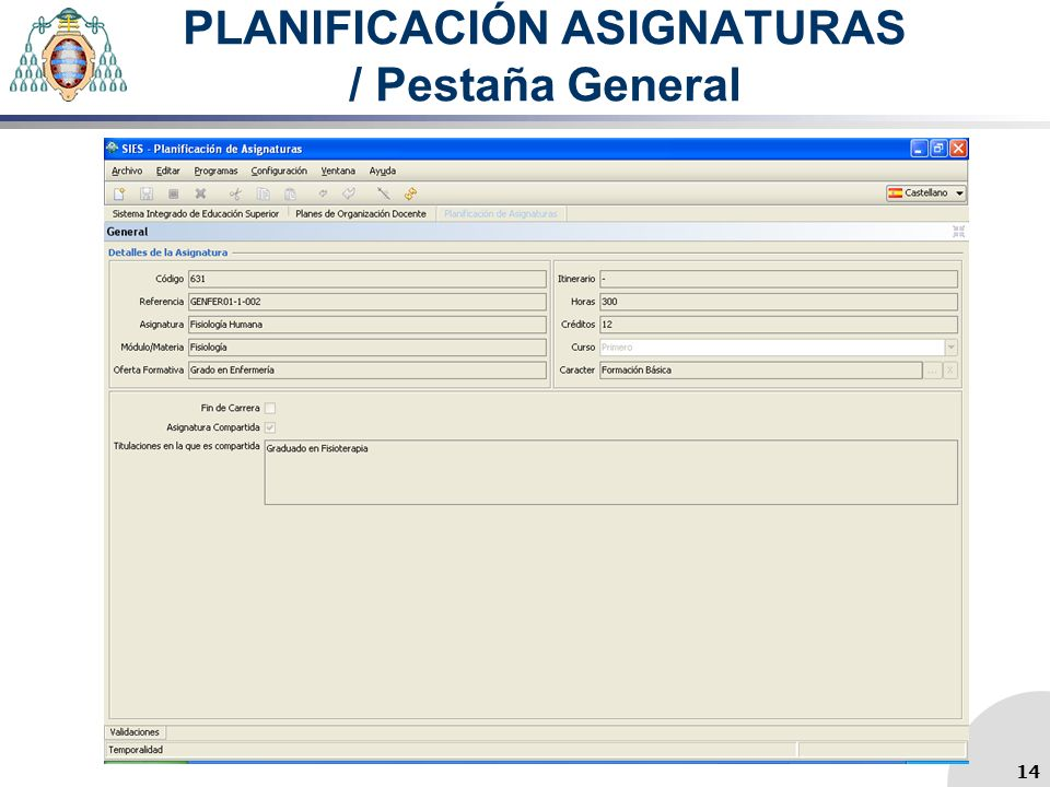 PLANIFICACIÓN ASIGNATURAS / Pestaña General 14