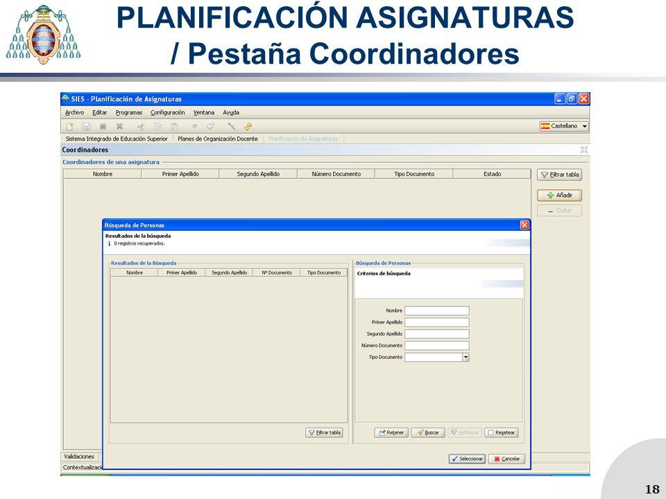 PLANIFICACIÓN ASIGNATURAS / Pestaña Coordinadores 18