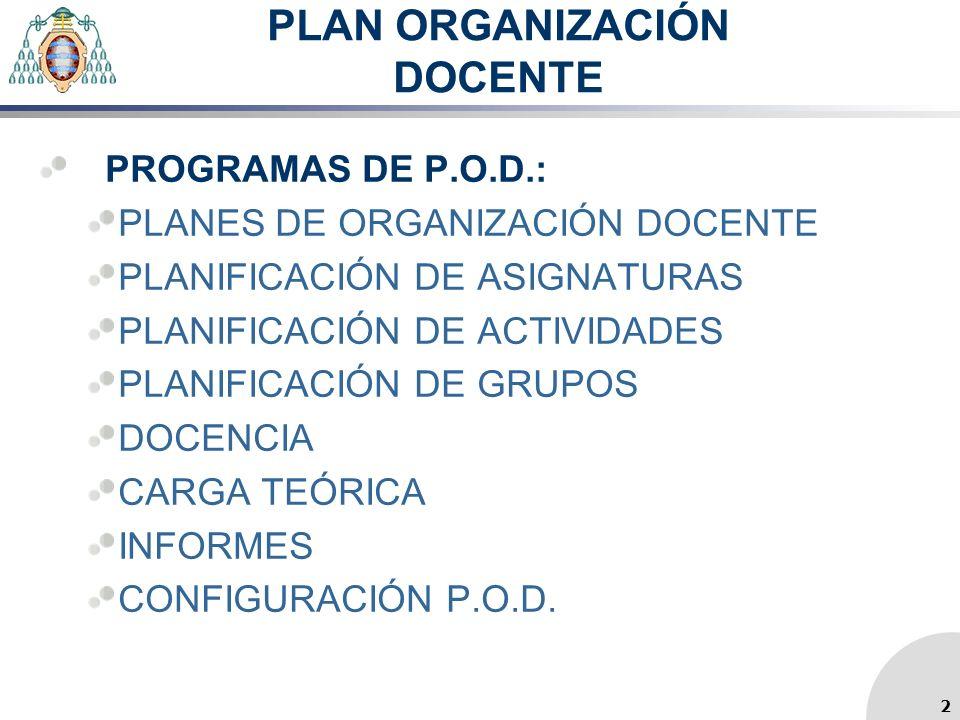 PLAN ORGANIZACIÓN DOCENTE PROGRAMAS DE P.O.D.: PLANES DE ORGANIZACIÓN DOCENTE PLANIFICACIÓN DE ASIGNATURAS PLANIFICACIÓN DE ACTIVIDADES PLANIFICACIÓN