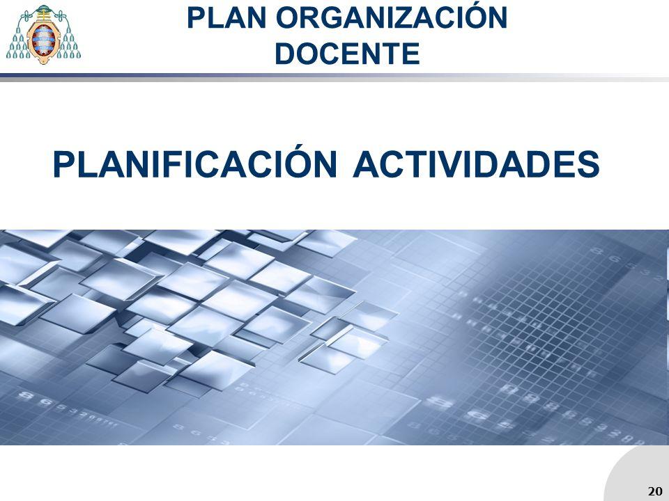 PLAN ORGANIZACIÓN DOCENTE PLANIFICACIÓN ACTIVIDADES 20