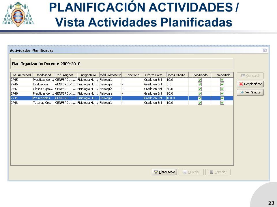 PLANIFICACIÓN ACTIVIDADES / Vista Actividades Planificadas 23