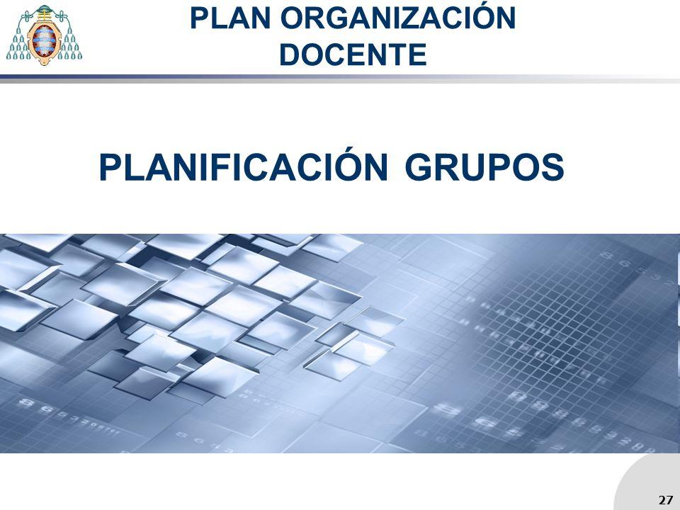 PLAN ORGANIZACIÓN DOCENTE PLANIFICACIÓN GRUPOS 27