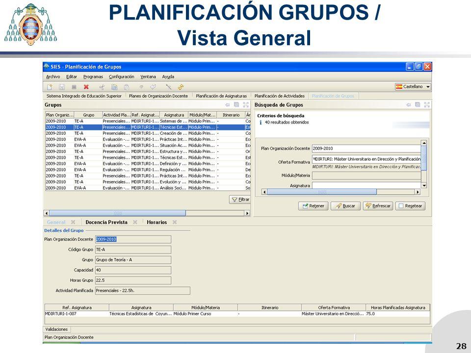 PLANIFICACIÓN GRUPOS / Vista General 28