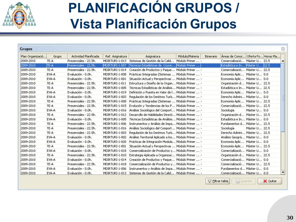 PLANIFICACIÓN GRUPOS / Vista Planificación Grupos 30