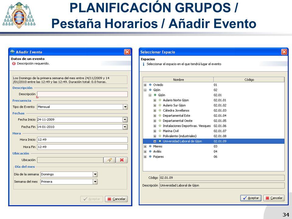 PLANIFICACIÓN GRUPOS / Pestaña Horarios / Añadir Evento 34