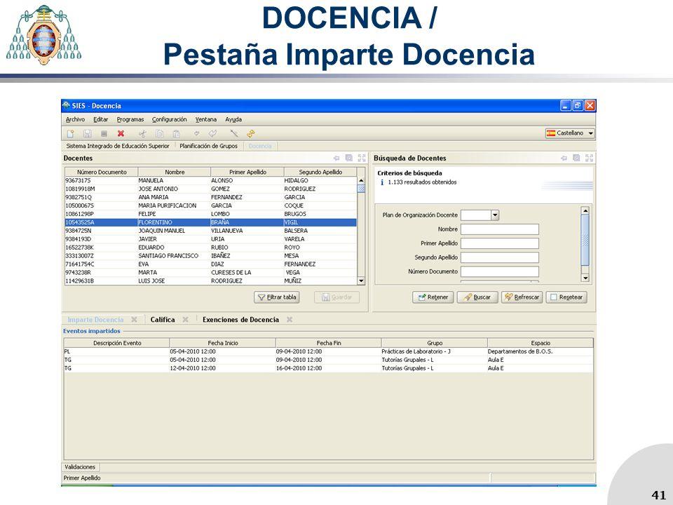 DOCENCIA / Pestaña Imparte Docencia 41