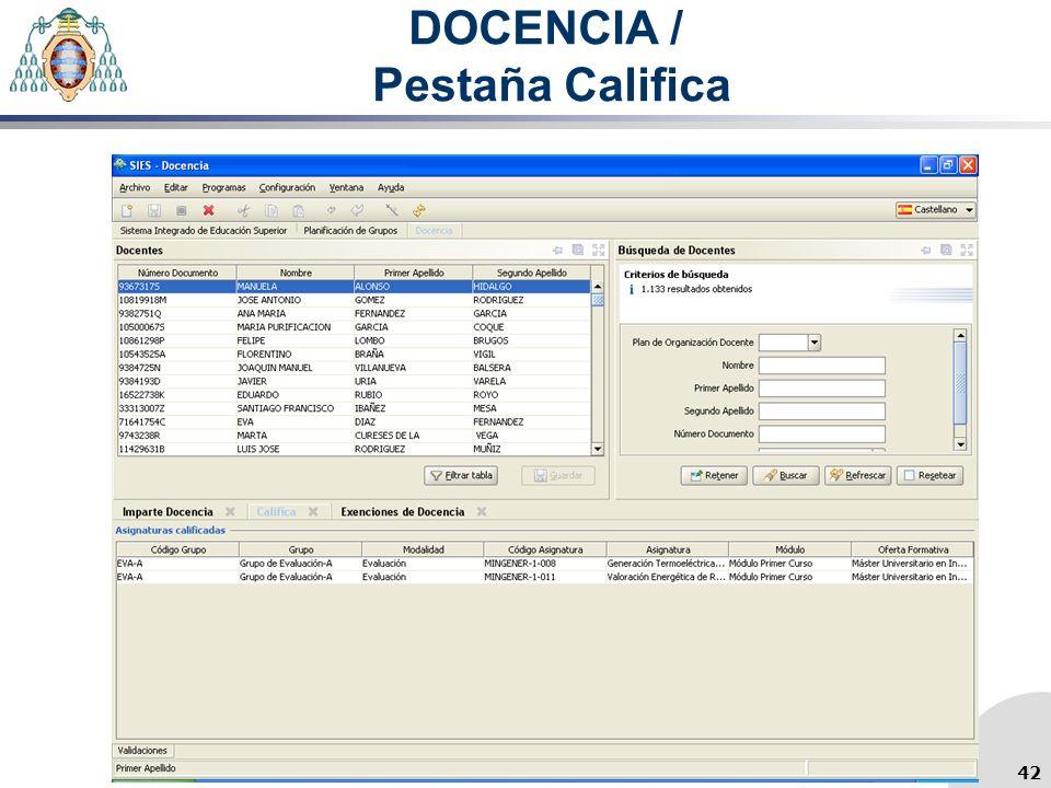 DOCENCIA / Pestaña Califica 42