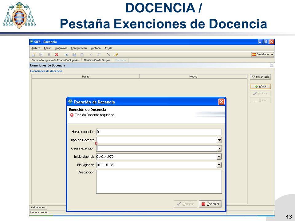 DOCENCIA / Pestaña Exenciones de Docencia 43