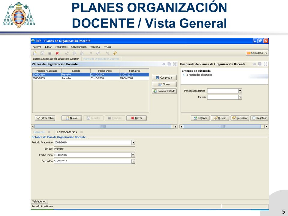 PLANES ORGANIZACIÓN DOCENTE / Vista General 5