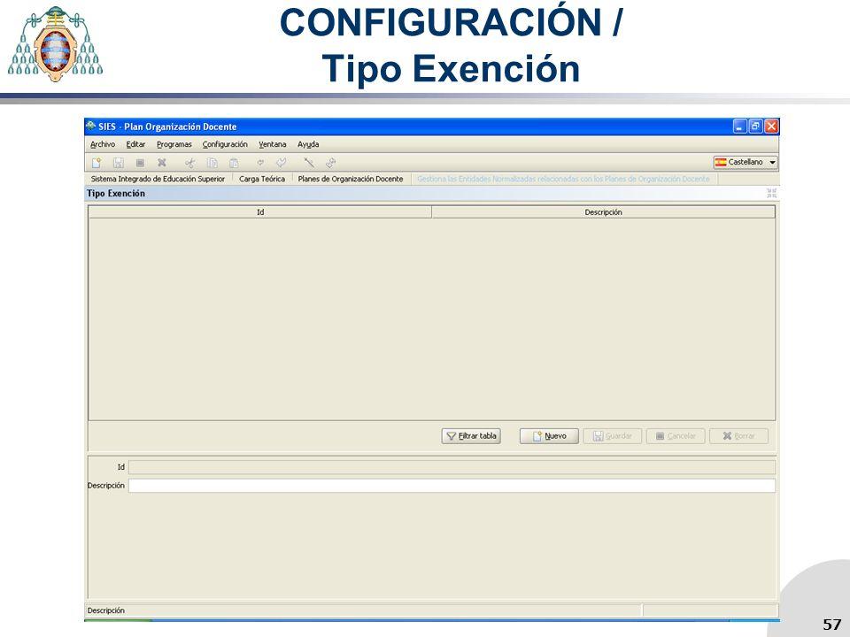 CONFIGURACIÓN / Tipo Exención 57