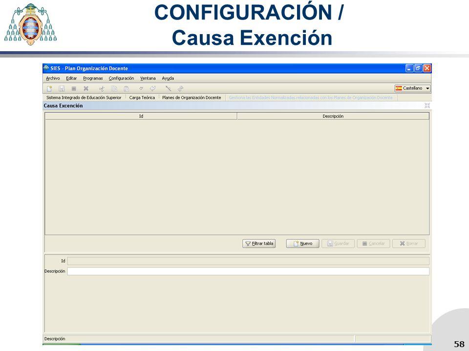 CONFIGURACIÓN / Causa Exención 58