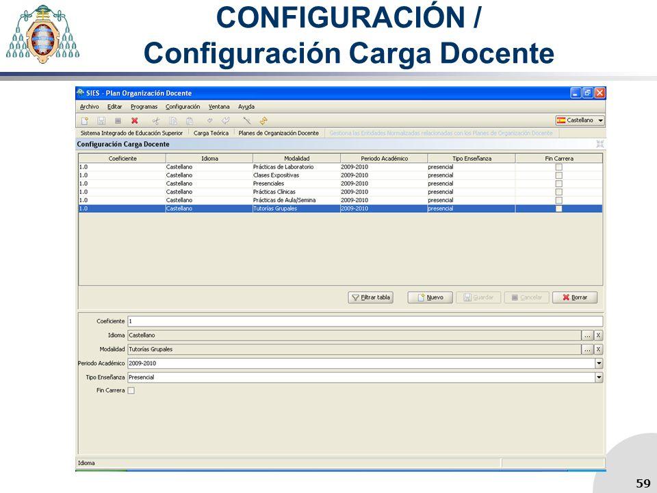 CONFIGURACIÓN / Configuración Carga Docente 59