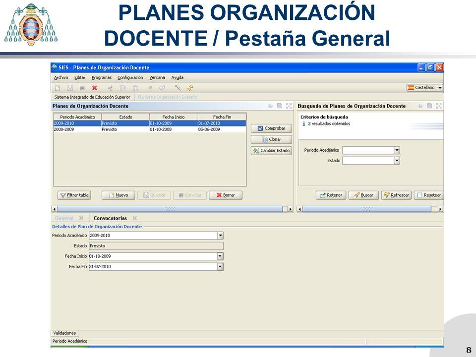 PLANES ORGANIZACIÓN DOCENTE / Pestaña General 8