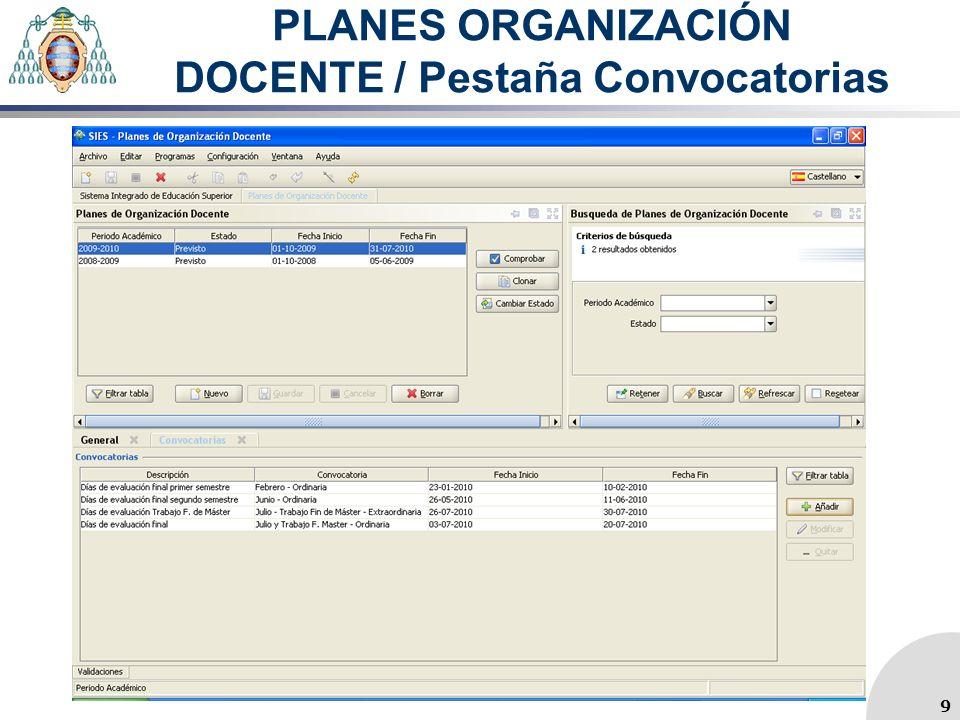 PLANES ORGANIZACIÓN DOCENTE / Pestaña Convocatorias 9