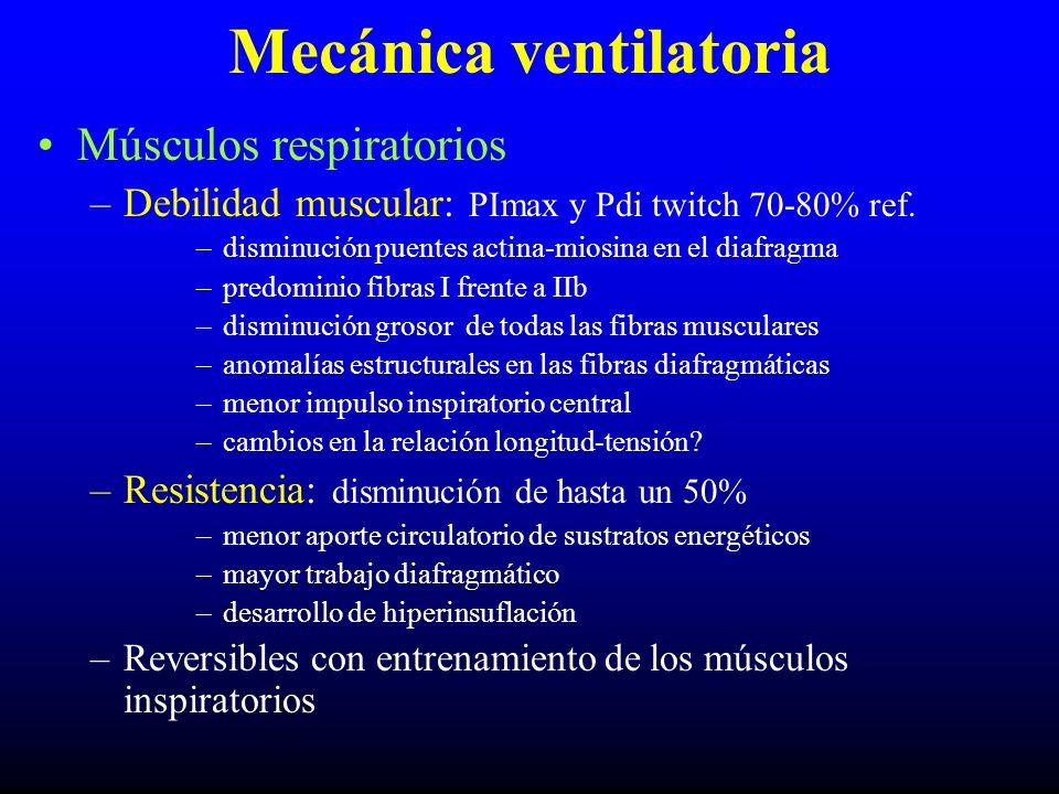 Mecánica ventilatoria Músculos respiratorios –Debilidad muscular: PImax y Pdi twitch 70-80% ref. –disminución puentes actina-miosina en el diafragma –