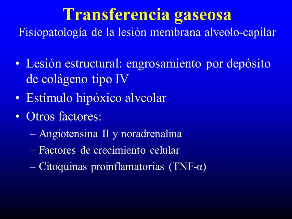 Lesión estructural: engrosamiento por depósito de colágeno tipo IV Estímulo hipóxico alveolar Otros factores: –Angiotensina II y noradrenalina –Factores de crecimiento celular –Citoquinas proinflamatorias (TNF-α) Transferencia gaseosa Fisiopatología de la lesión membrana alveolo-capilar