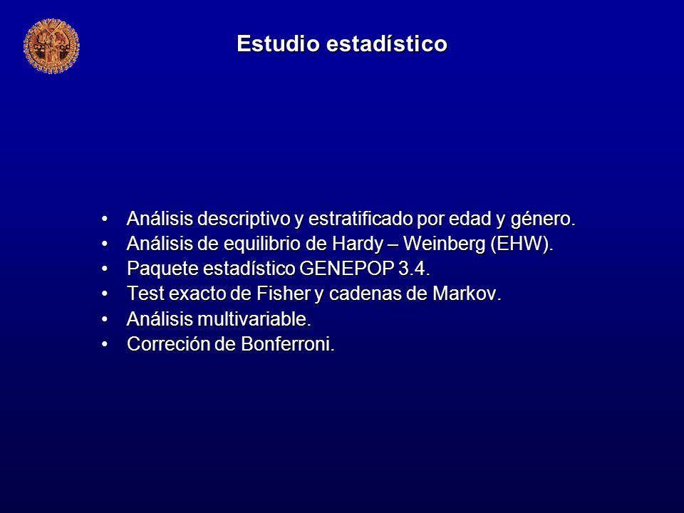 Estudio estadístico Análisis descriptivo y estratificado por edad y género.Análisis descriptivo y estratificado por edad y género. Análisis de equilib