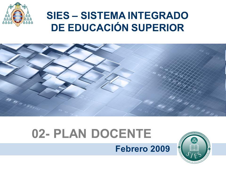 02- PLAN DOCENTE Febrero 2009 SIES – SISTEMA INTEGRADO DE EDUCACIÓN SUPERIOR
