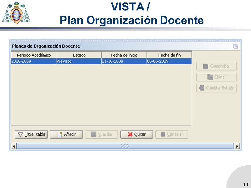 VISTA / Plan Organización Docente 11