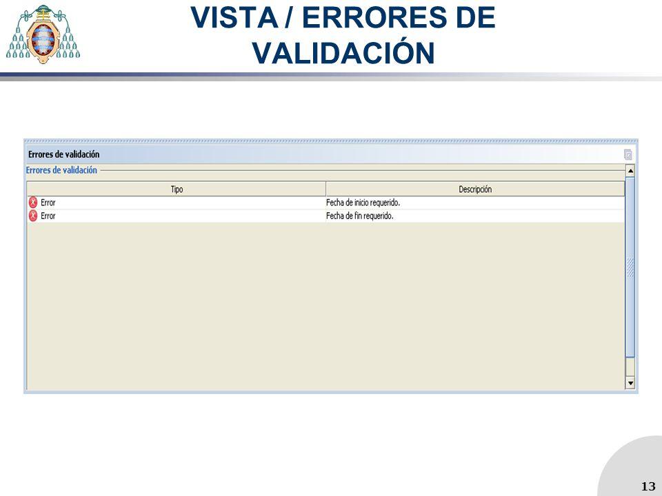 VISTA / ERRORES DE VALIDACIÓN 13
