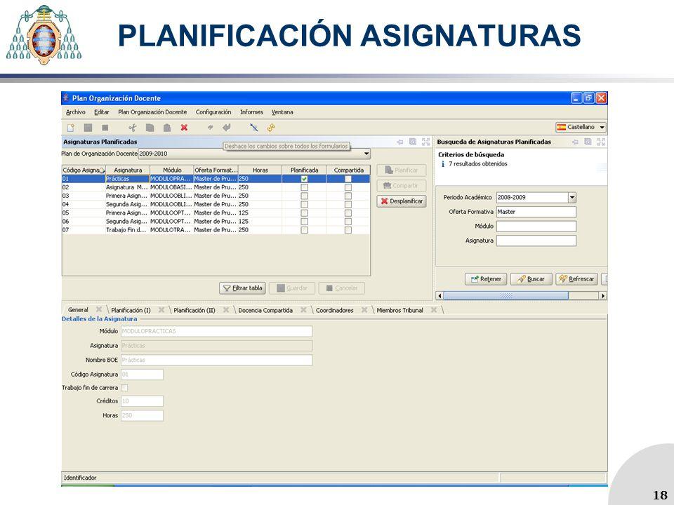 PLANIFICACIÓN ASIGNATURAS 18