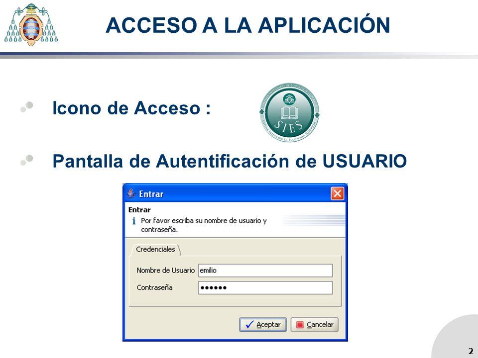 ACCESO A LA APLICACIÓN Icono de Acceso : Pantalla de Autentificación de USUARIO 2