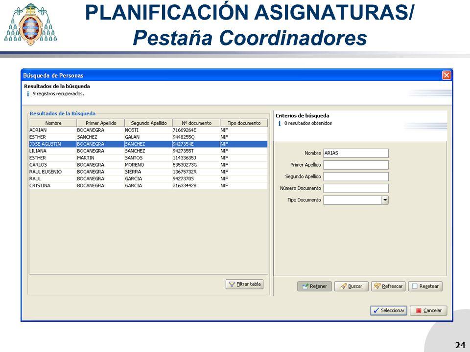 PLANIFICACIÓN ASIGNATURAS/ Pestaña Coordinadores 24