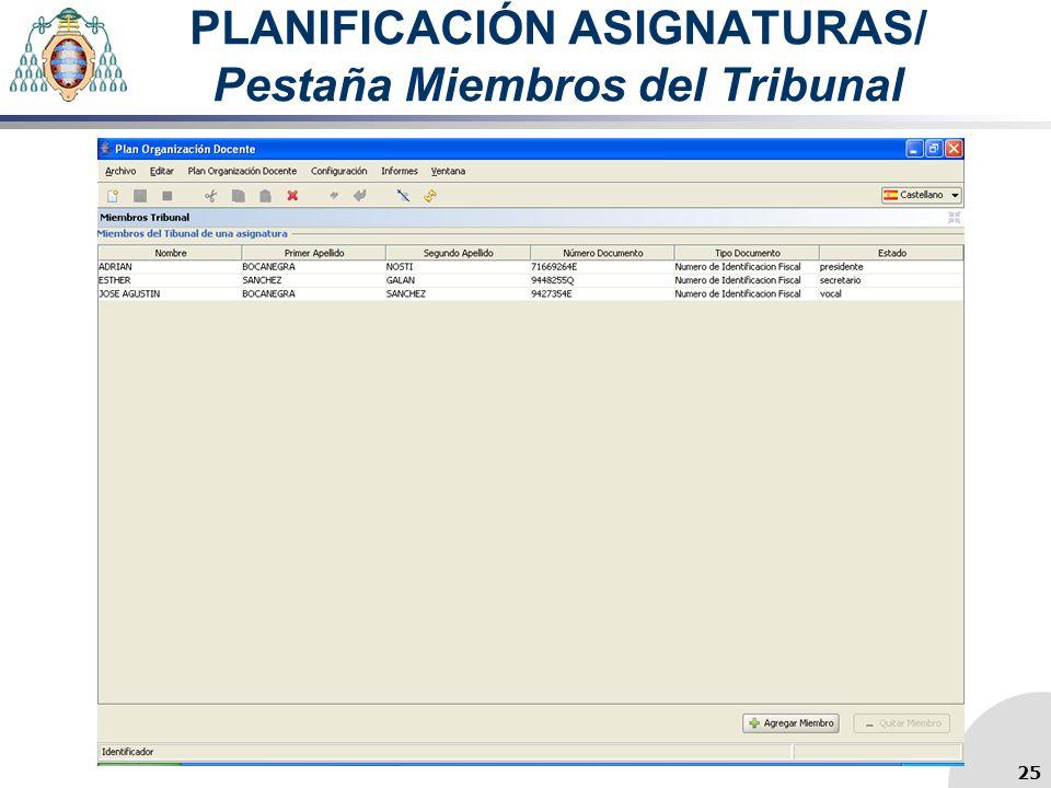 PLANIFICACIÓN ASIGNATURAS/ Pestaña Miembros del Tribunal 25