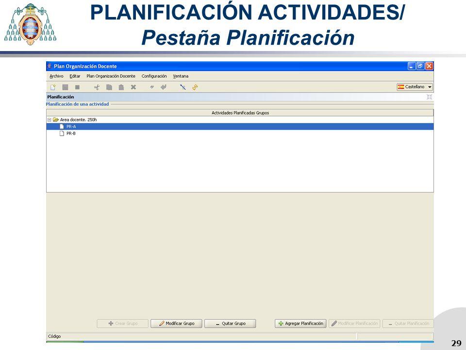 PLANIFICACIÓN ACTIVIDADES/ Pestaña Planificación 29