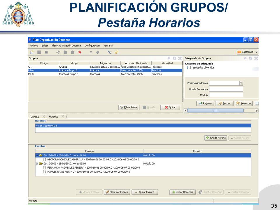 PLANIFICACIÓN GRUPOS/ Pestaña Horarios 35