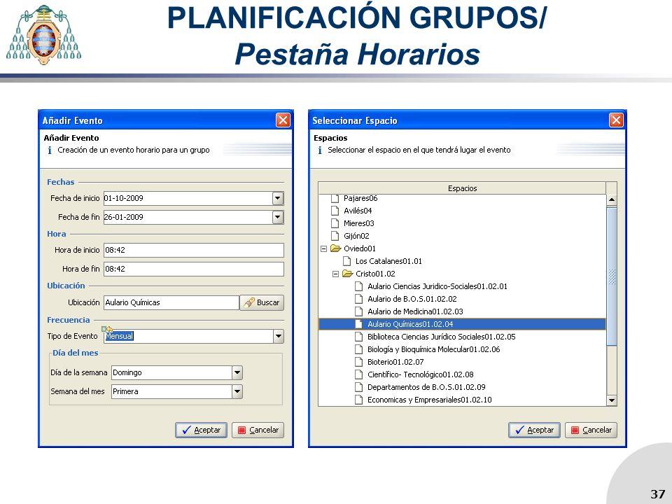 PLANIFICACIÓN GRUPOS/ Pestaña Horarios 37