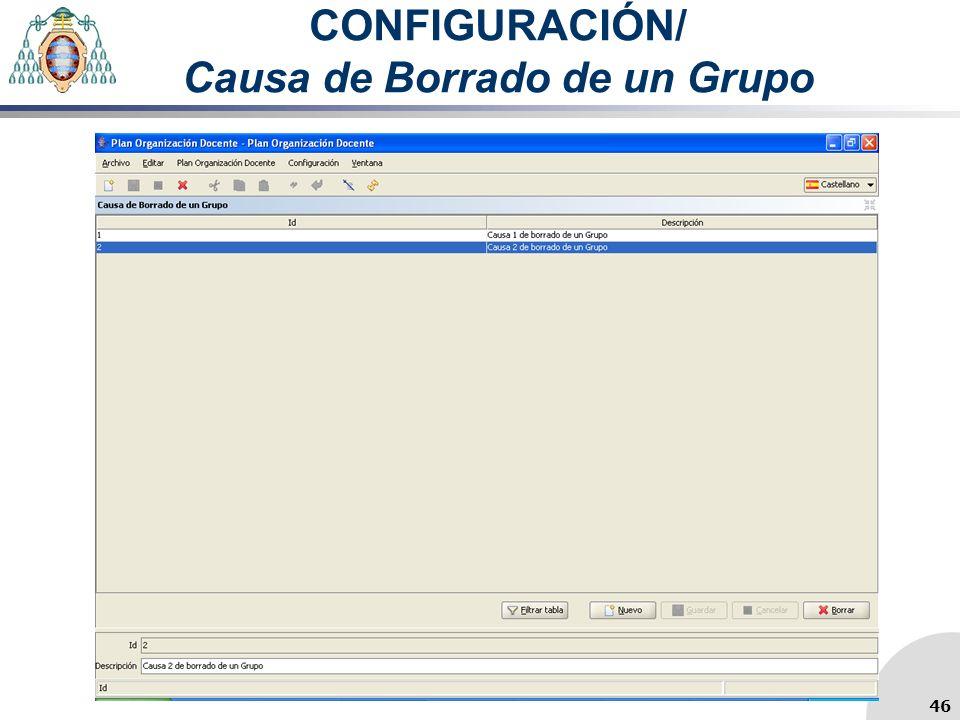 CONFIGURACIÓN/ Causa de Borrado de un Grupo 46