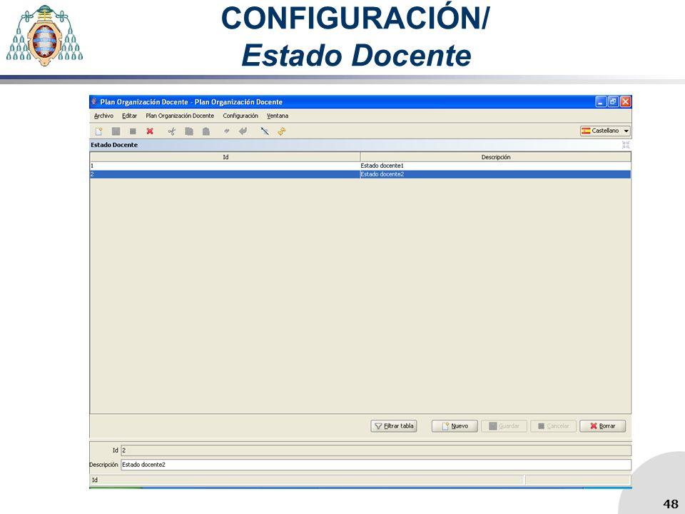 CONFIGURACIÓN/ Estado Docente 48