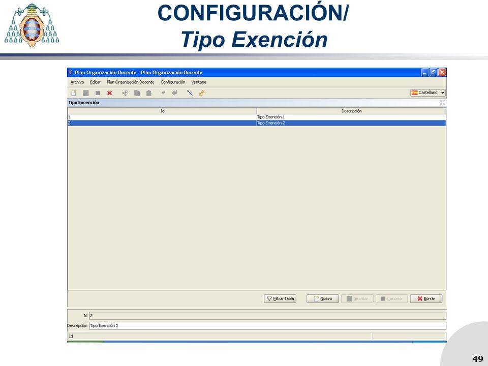 CONFIGURACIÓN/ Tipo Exención 49
