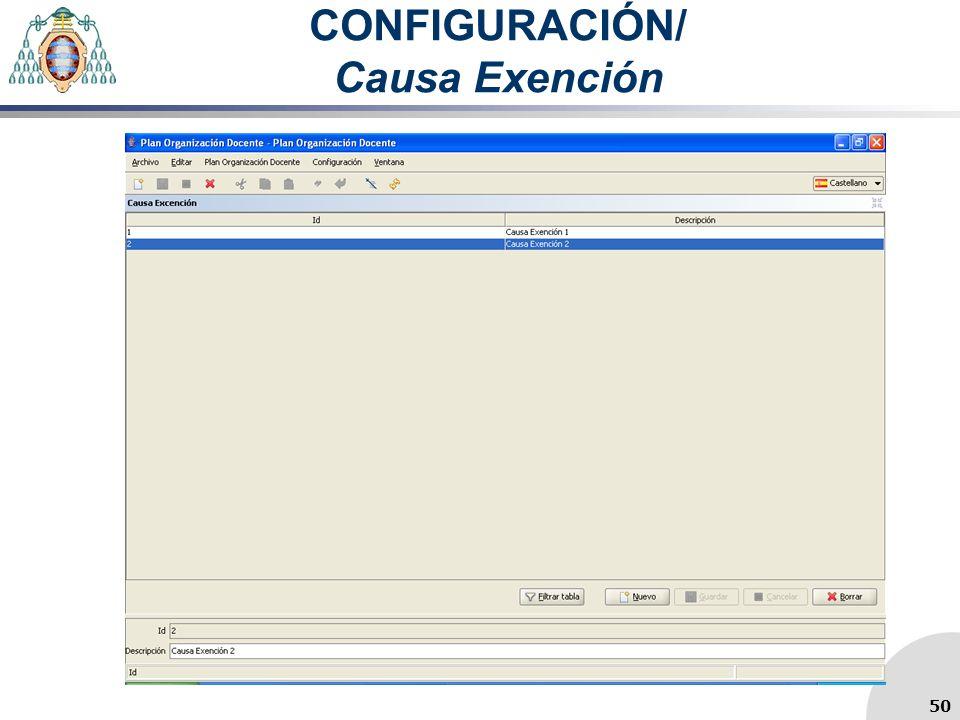 CONFIGURACIÓN/ Causa Exención 50