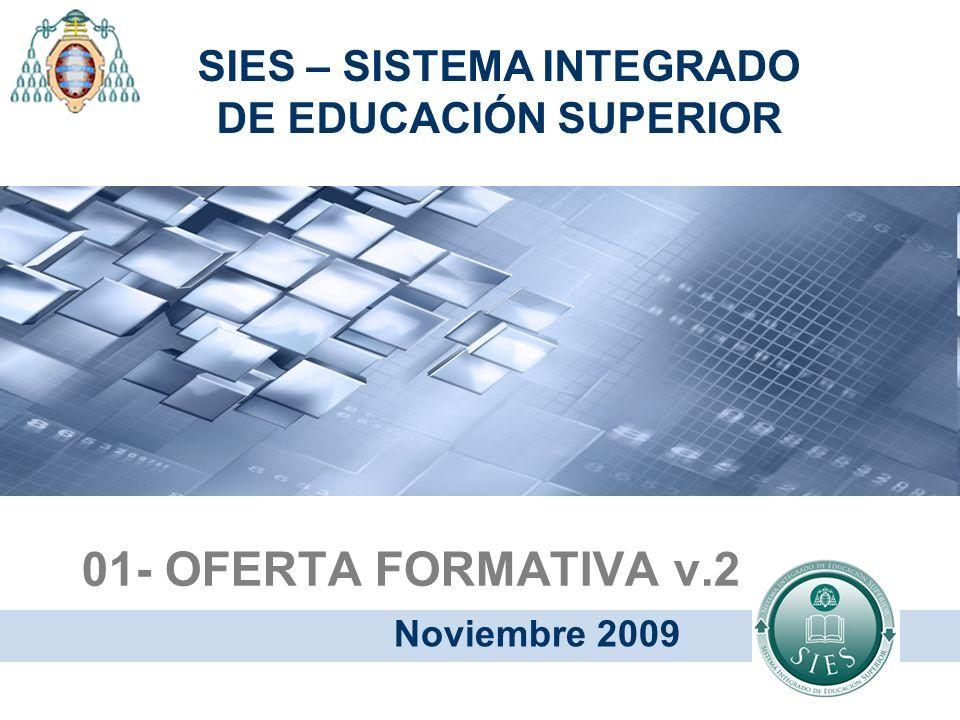 01- OFERTA FORMATIVA v.2 Noviembre 2009 SIES – SISTEMA INTEGRADO DE EDUCACIÓN SUPERIOR
