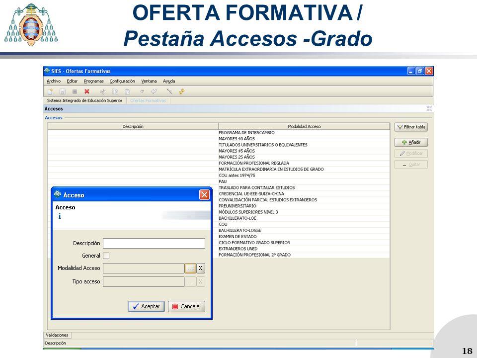 OFERTA FORMATIVA / Pestaña Accesos -Grado 18